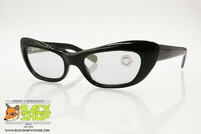 Disciplinato Pl Authentic 1960s Vintage Sunglasses High Cat Eye Shape Corners, Black Acetate,