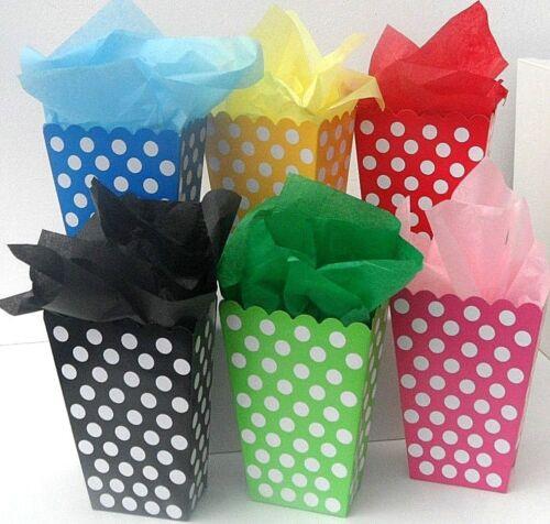 6 x Sweet Candy popcorn boîtes traiter complet avec papier tissu
