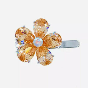 USA Flower Magnet Hair Clip Hairpin  Rhinestone Crystal Small Barrette Purple #5