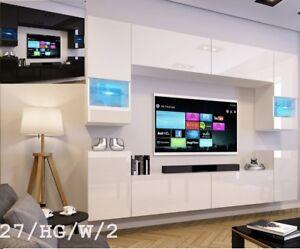 Top! Moderne Wohnwand Schrankwand Weiß / Schwarz Hochglanz Concept 27 Wohnzimmer