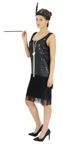 20er Jahre Damen Kleid Charleston Kostüm Mafia 20s Flapper schwarz