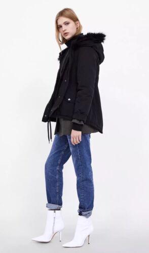 Short Padded Bnwt S Water Hooded Size Zara Uk Black Coat Parka 10 Resistant tqxB67A5w