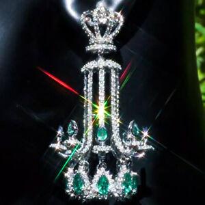 14K-gold-Natural-22-68ct-EMERALD-Diamond-Pearl-CHANDELIER-Estate-LONG-Earrings