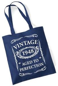 70th Birthday Gift Tote Shopping Cotton Fun Bag Vintage 1948 Aged To Perfection