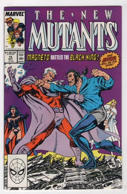 The New Mutants #75 (May 1989, Marvel) Sabretooth Magneto vs Black King Byrne p