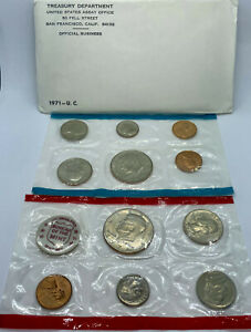 NO COINS. 1971 Mint set envelope only