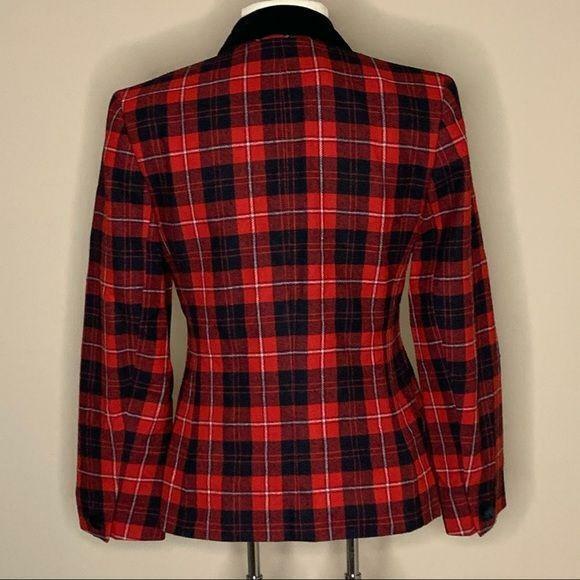 Pendleton | Vintage Red Plaid Blazer Velvet Trim - image 2