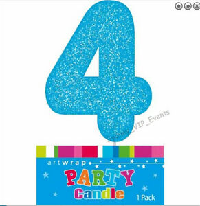 Image Is Loading CAKE CANDLE NUMBER 4 GLITTER BLUE 4TH BIRTHDAY