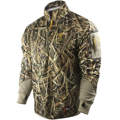 8948bbee9c8af Browning Dirty Bird Smoothbore Fleece 1/4 Zip Pullover Coat Blades Camo  Medium