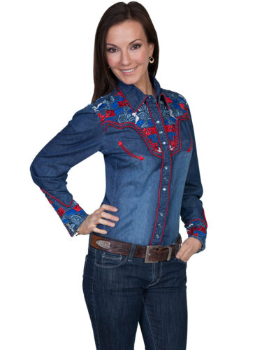 Vintage Western Wear Clothing, Outfit Ideas   Scully Western Womens Denim Polyester L/S Multi-Floral Western Shirt $87.99 AT vintagedancer.com