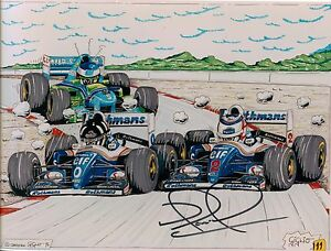 Nigel-Mansell-hand-signed-Autograph-on-Cartoon-6x8-034-vgc