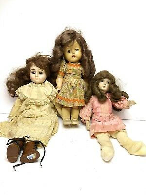 Lot Of 3 Brunette Girls Vintage Dolls; Gorham, Edith, Impco Good Taste