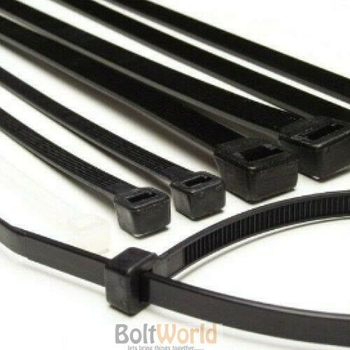 7.6 x 370mm STRONG BLACK COLOUR NYLON PLASTIC CABLE TIES ZIP TIE WRAPS 100