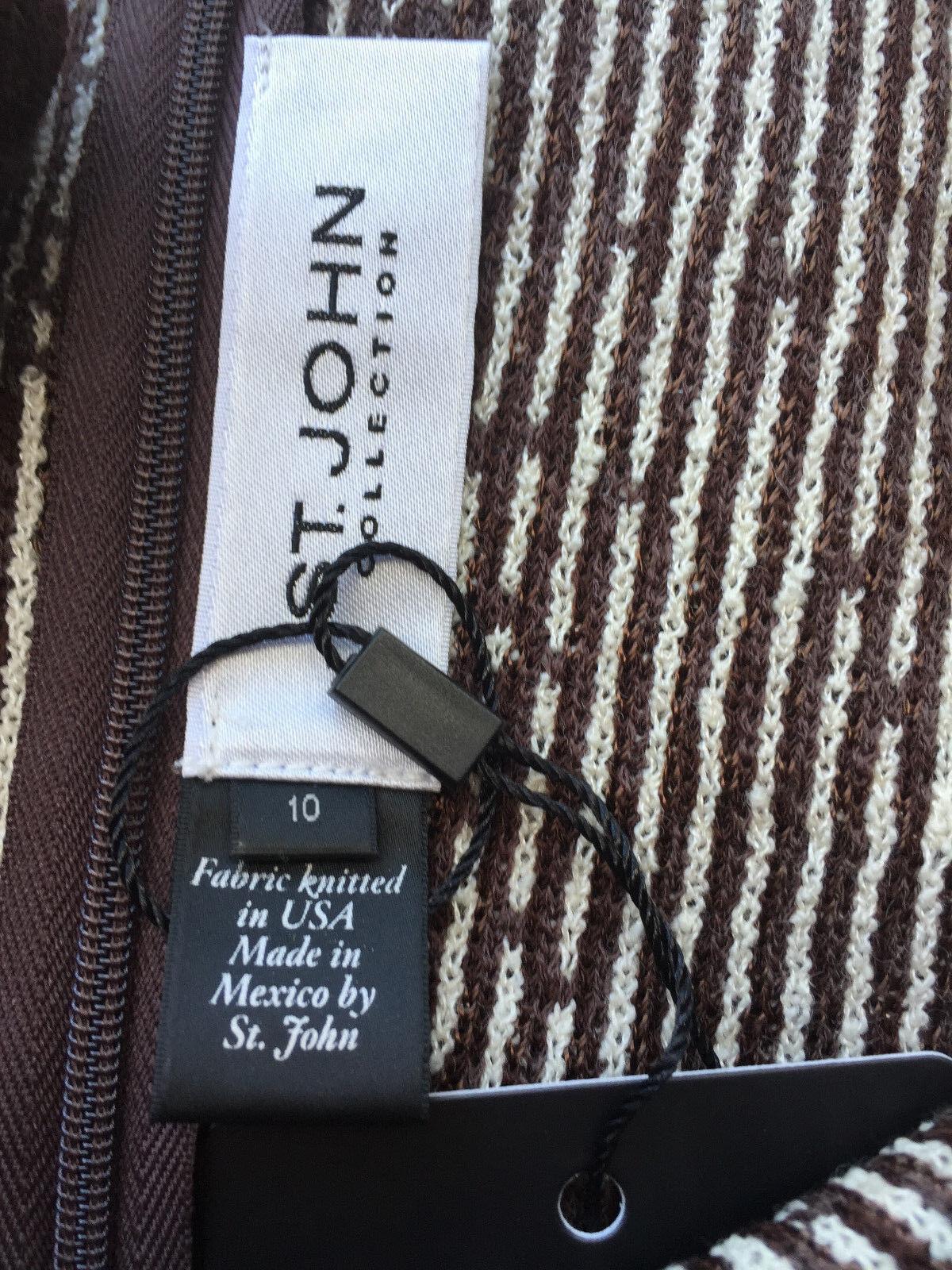 NEW ST JOHN KNIT 10 WOMENS DRESS ANIMAL PRINT PRINT PRINT BROWN & CREAM SANTANA KNIT PRINT 7ff748