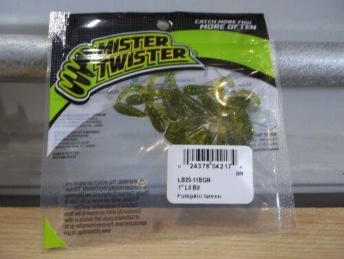 "Mister Twister 1/"" Lil Bit Curl Tail Grubs 20 Per Pack Citrouille vert neuf dans emballage"