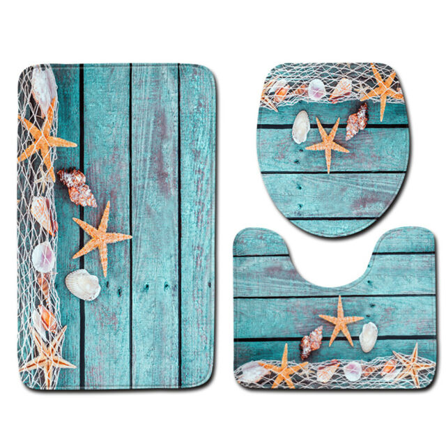 3pcs//set Summer Beach Conch Starfish Printed Pattern Flannel Bathroom Set L5D4