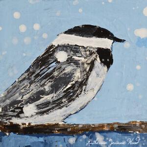 Chickadee Bird Mini Animal Art Painting Katie Jeanne Wood
