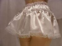 Sissy Adult Baby Fancy Dress White Satin Micro Mini Skirt 11long All Sizes