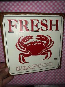 Vintage-FRESH-SEAFOOD-Blue-Crab-Old-Bay-Crabbing-Tin-Sign-UNIQUE-9-9-sj3j