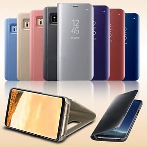 Para-Samsung-Galaxy-S7-S8-S8-S9-S9-Edge-Smart-View-Cuero-Abatible-De-pie-Estuche-Cubierta