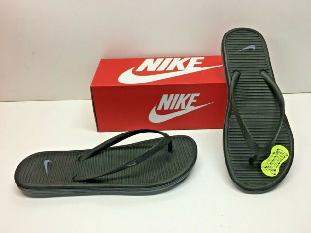 Nike Solarsoft Thong 2 Slides Flip Flops Black Sandals Slip on Shoes Womens 9