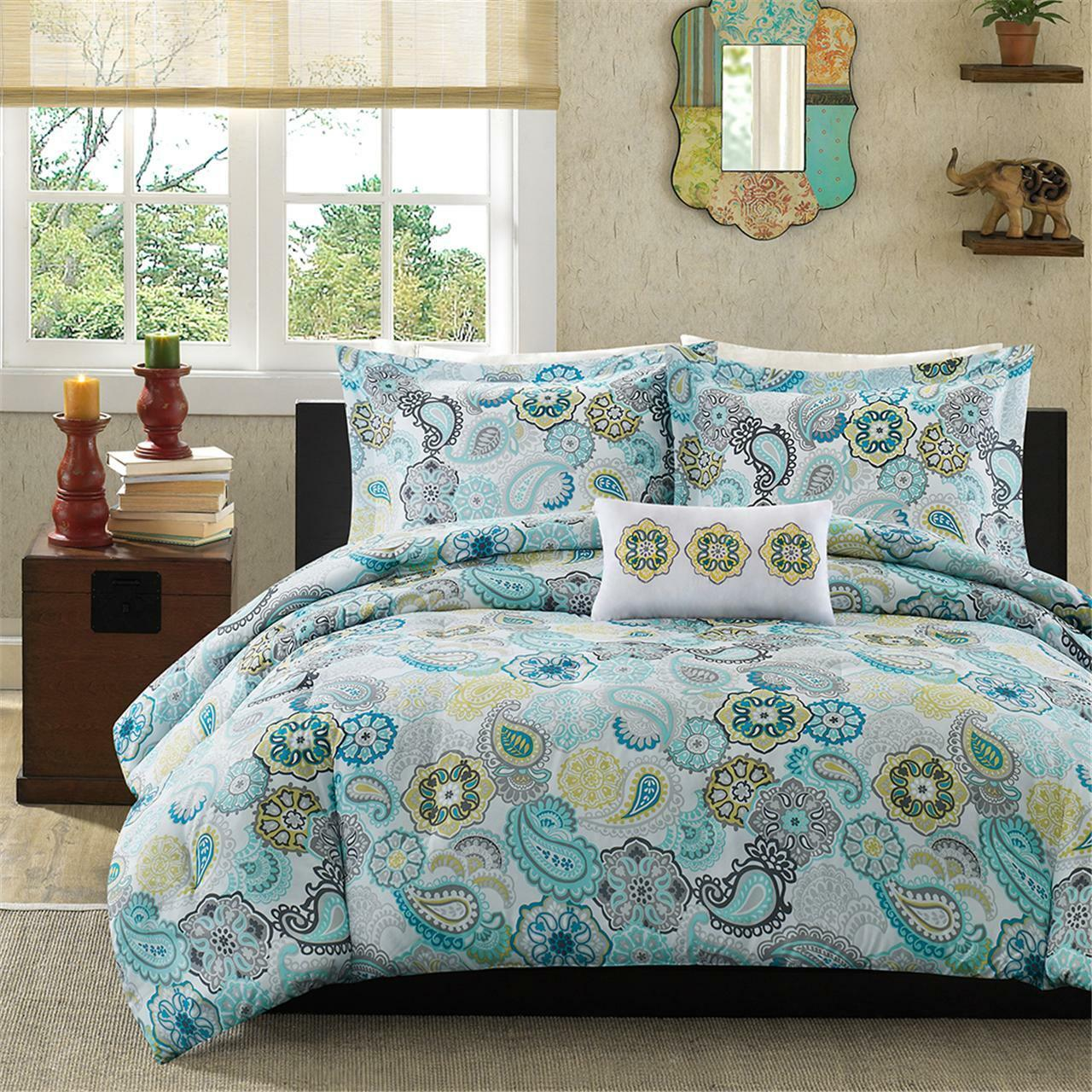 BEAUTIFUL blu AQUA TEAL grigio giallo BEACH OCEAN BOHEMIAN TROPICAL COMFORTER SET