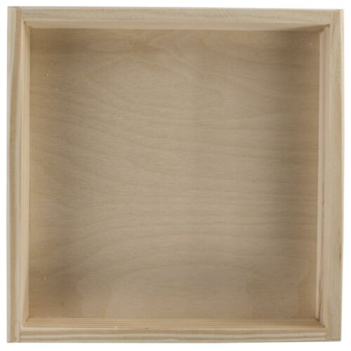 Square Shallow PIN bac Box Organisateur20 x 20 x 3 cmPlain bois décoratif