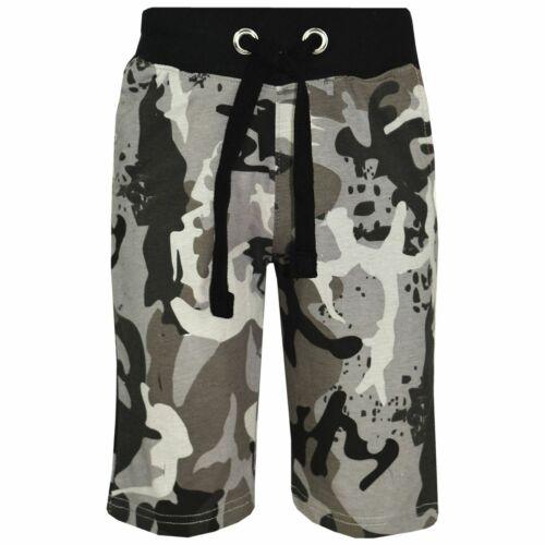 Bambini Ragazzi Grigio Antracite Camouflage Pantaloni Corti Chino al Ginocchio Mezza Pantaloni Età 5-13 anni