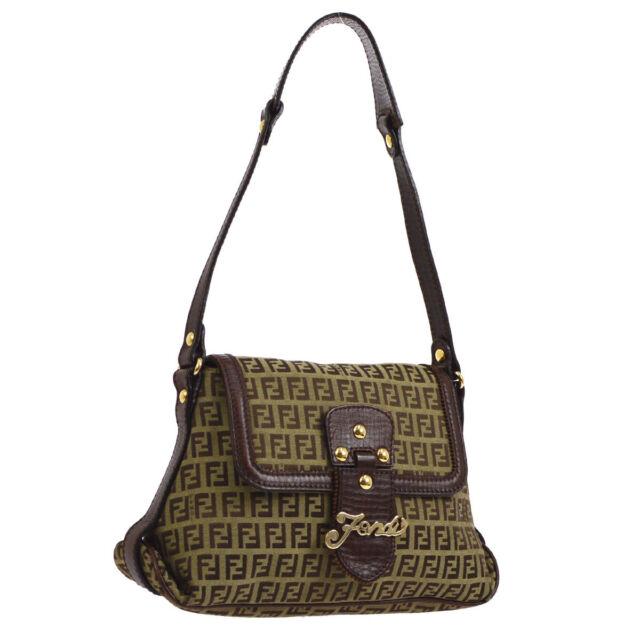 9948fbe96d3b Authentic FENDI Zucca Pattern Shoulder Bag Brown Canvas Leather Vintage  AK25538