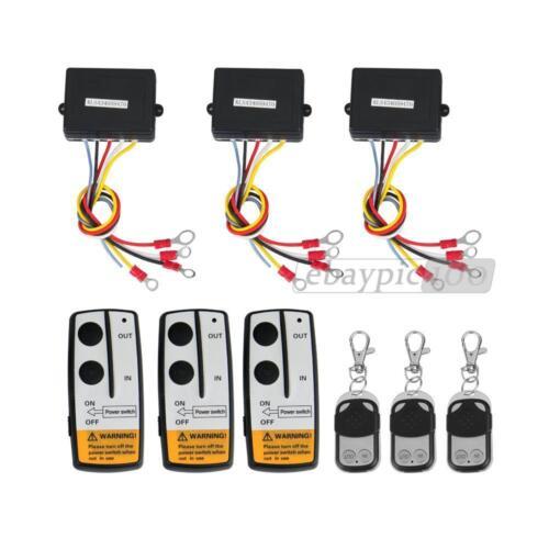 3 x 12V Wireless Winch Remote Control Key Receiver Switch for Truck Jeep SUV ATV