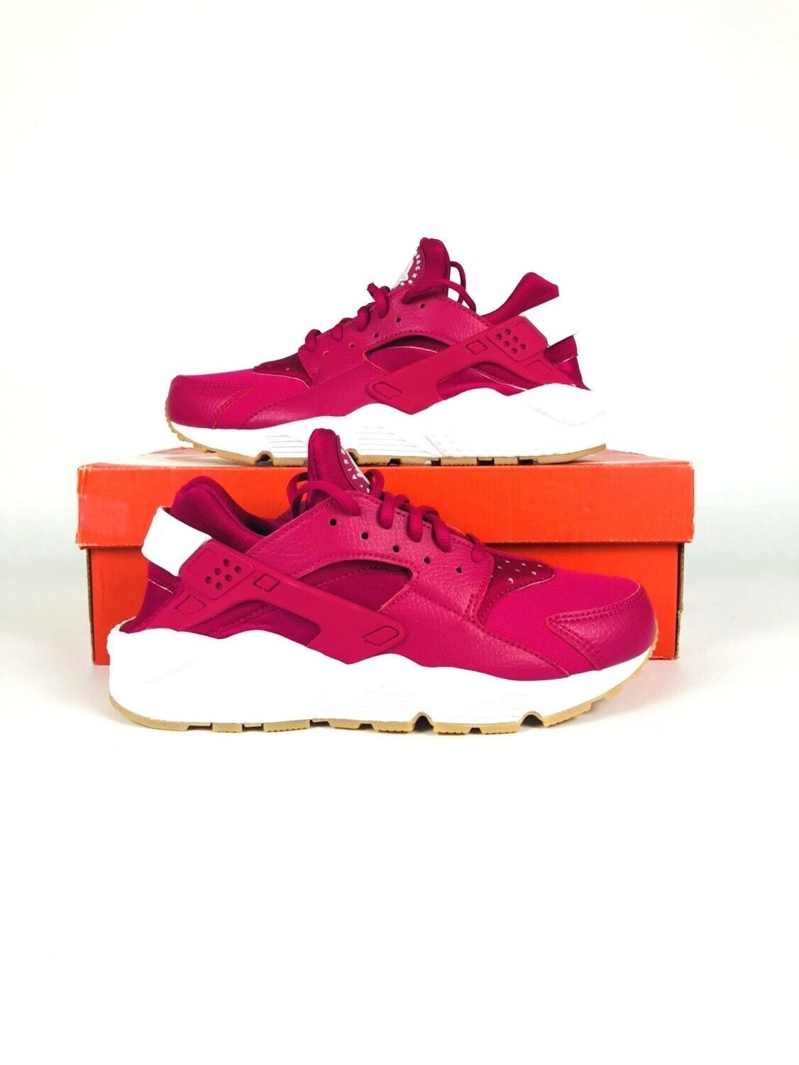 New Nike Women's Air Huarache Run Shoes 634835-606  Sport Fuchsia//White-Gum