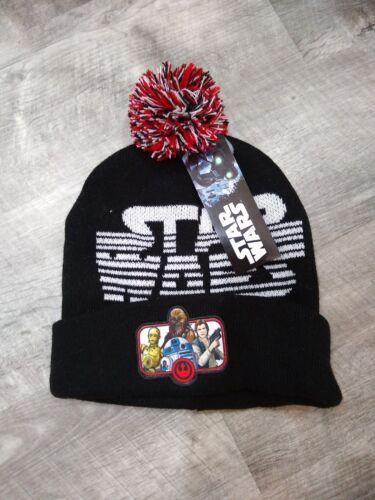 DISNEY STAR WARS BOYS KNIT HAT CAP W// POM POM RED BLACK /& WHITE WINTER BRAND NEW