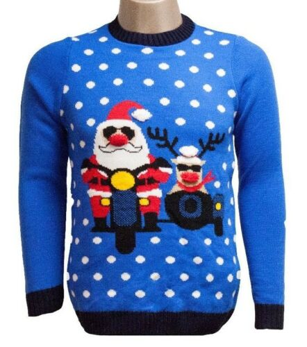 3D Santa and Rudolph Christmas Jumper Festive Knitwear FREE DELIVERY