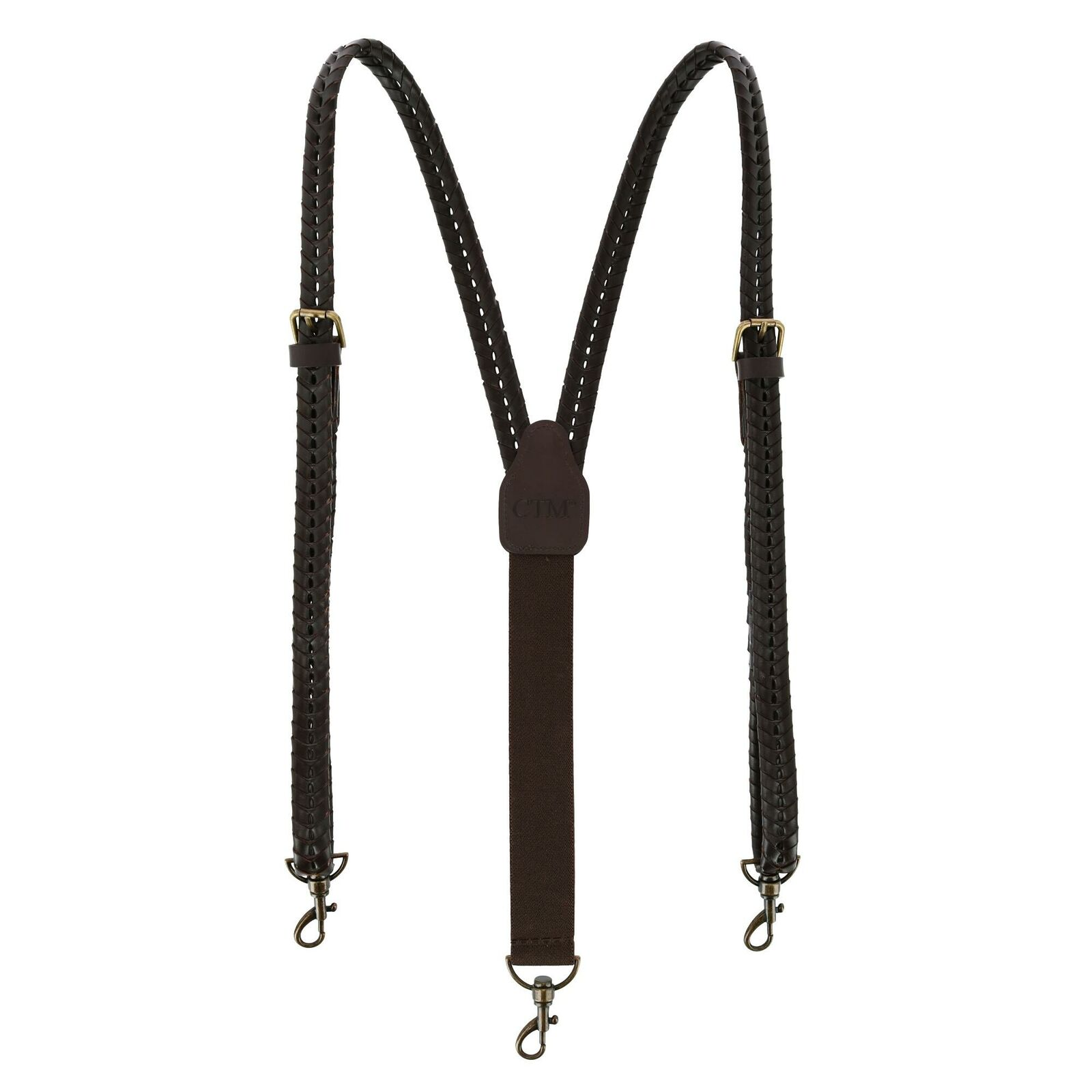 New CTM Men's Coated Leather Flat Braided Suspenders with Metal Swivel Hook Ends