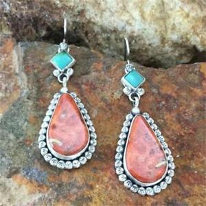 vintage-tibet-des-boucles-d-039-oreilles-en-turquoise-925-silver-avec-crochet