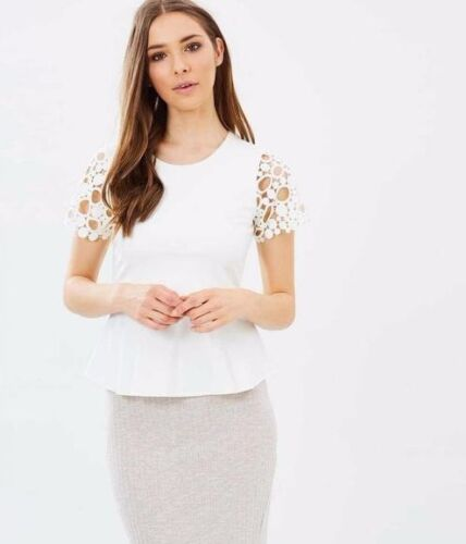 Karen Millen Ivory Floral Embroidered Peplum Party Blouse T Shirt Top 10 To 12