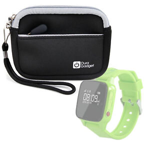 Black-Neoprene-Compact-Camera-Case-for-Haier-SOS-Connected-Smartwatch