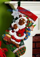 Bucilla Santa Bear 18 Felt Christmas Stocking Kit 86208 Drum, Toys, Stars