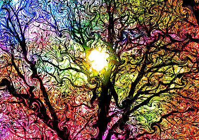 Psychedelic Trippy Tree GIANT Art Print Poster, Various sizes from A3