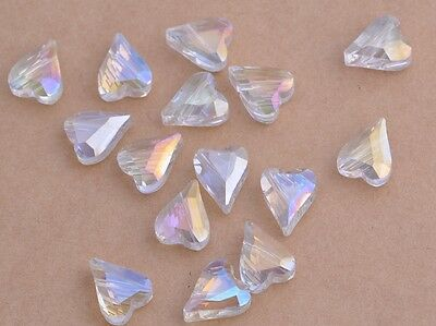 10pcs 12mm Heart Faceted Crystal Glass Loose Jewelry Findings Beads White AB