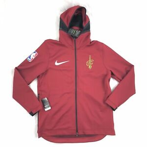 Nike-NBA-Cleveland-Cavaliers-Therma-Flex-Showtime-Hoodie-Dark-Red-Gold-Mens-L-XL