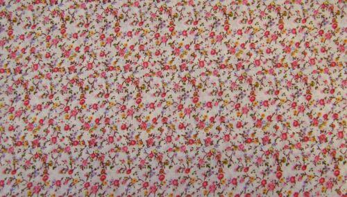 Rosa Rosso Floreale 100/% cotone stampa vestito tessuto artigianale 160cm @ £ 3.99 per MTR.