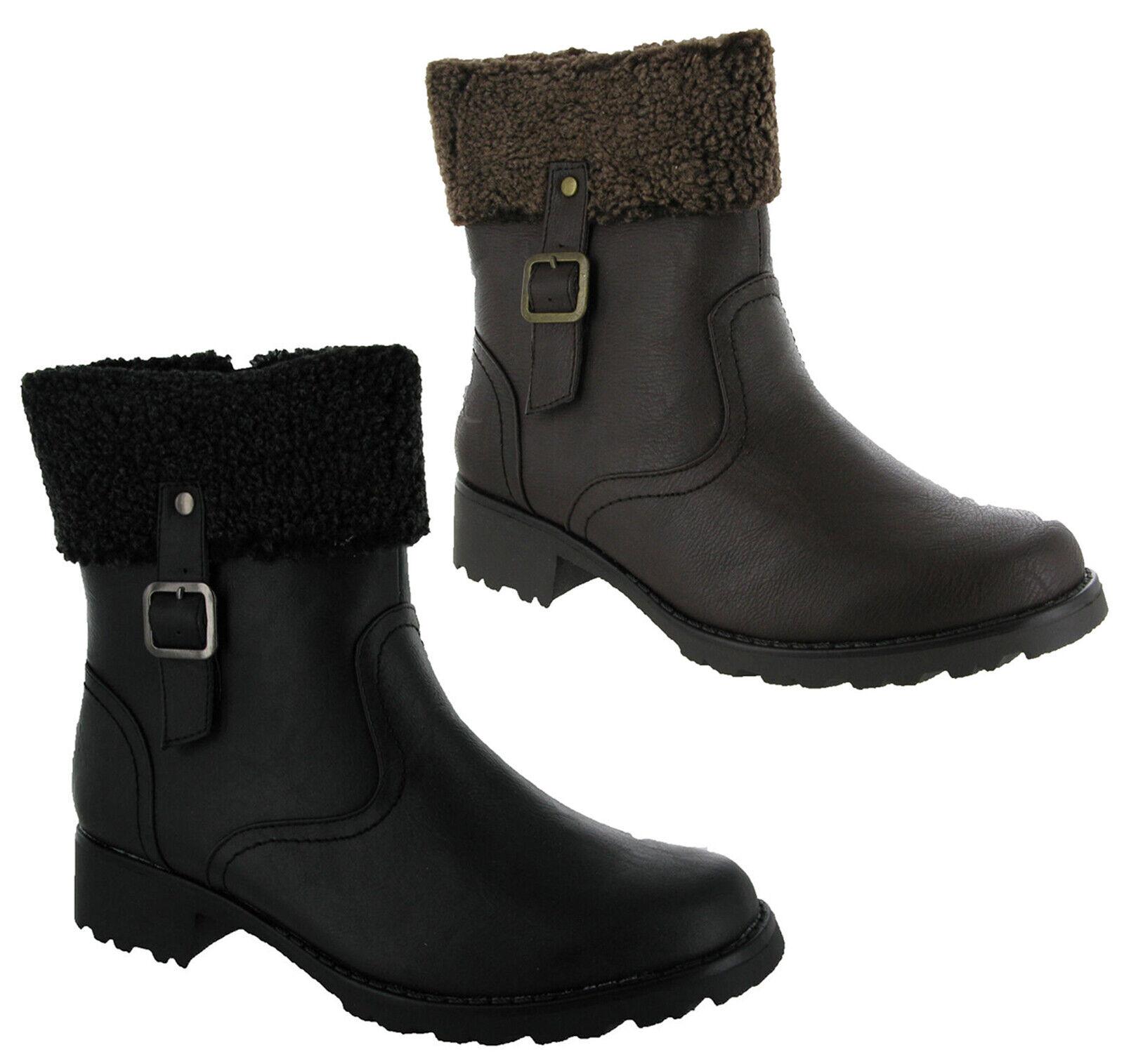 Para Mujer Suave calcetín de piel Top Negro/marr ón Moda Motociclista Tobillo cremallera botas talla 3 a 8 del Reino Unido