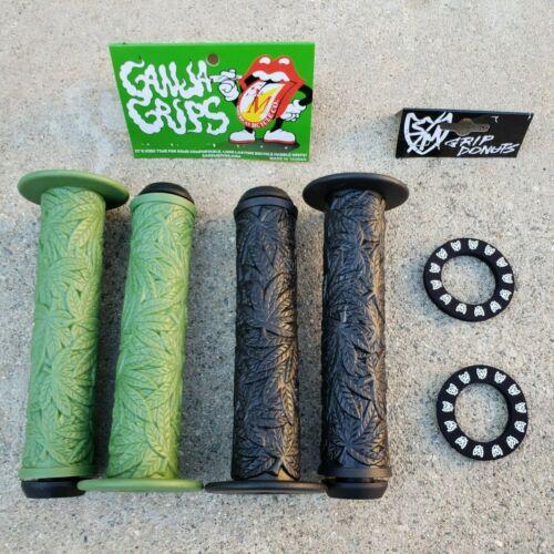 S/&M GANJA FLANGED GRIPS BLACK OR GREEN BMX BIKE GRIP WITH DONUTS HARO SE GT