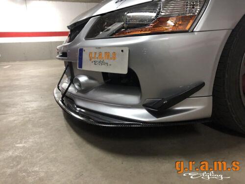 Mitsubishi Lancer Evo 7,8,9 Front Bumper Splitter / Lip + PAIR SUPPORT RODS v8