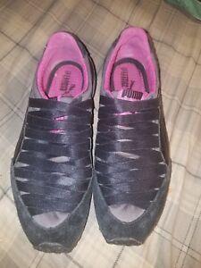 f3ba05e2d05 PUMA Womens Sz 61 2 Slip On Sneakers Black pink Flats Tennis Shoes ...