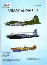 Blackbird Decals 1/72 U.S.A.A.F. AT WAR Part 1 YB-40, Mosquito, & Spitfire