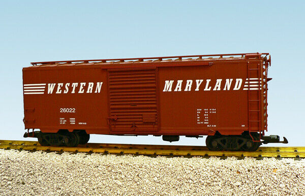 USA Trains G Scale 8 ft. Panel Door PS1 Box Car R19233B Western Maryland - Brown