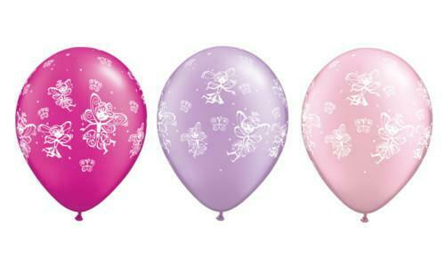 Feen /& Schmetterlinge Pink /& Lila Qualatex 27.9cm Latex Ballons X 25