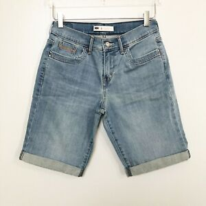 Levis-Womens-Shorts-Denim-Bermuda-Mid-Rise-Stretch-Rolled-Cuff-Blue-Pocket-Sz-4